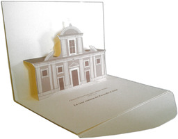 3D pop-up Kirigami card with the three-dimensional reproduction of the facade St. Francis' Monastery in Rome with a stamp and a special commemorative postmark