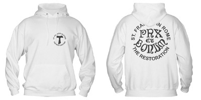 """Cotton sweatshirt with the words """"Pax et Bonum"""" and the logo of the restoration"""