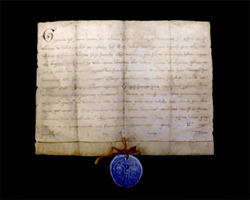 """Numbered and limited-edition reproduction of the Pope Gregorio IX's """"Cum deceat vos esige"""" papal seal dated 1229 which declares the transfer of St. Francis' hospice from the Benedictine monks to the Franciscan friars"""
