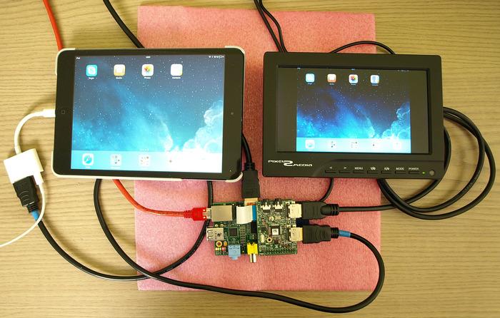 "Test setup with iPad mini as video source and 7"" monitor (loop through setup)"