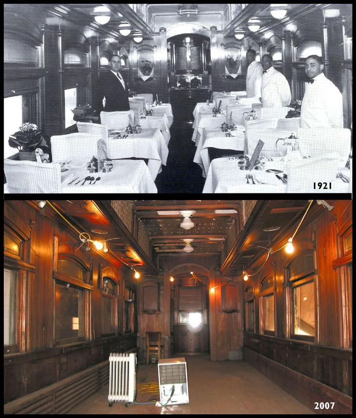 Then & Now View of the Interior of the Dining Car.