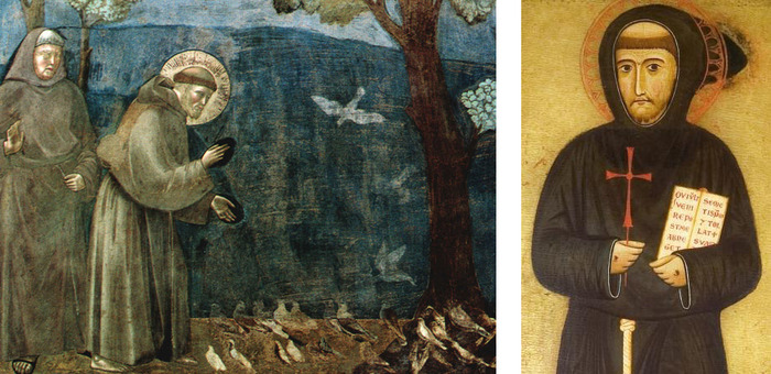 """Part of the fresco """"Sermon to the birds"""" by Giotto di Bondone and detail of St. Francis' portrait by Margaritone d'Arezzo"""