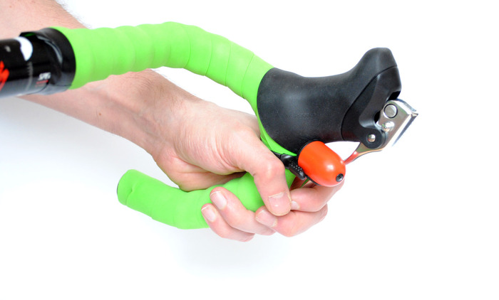 Trigger Bell on standard drop handle bar with brake fully on