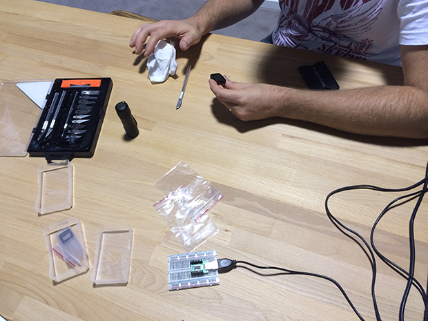 Ted polishing by hand one of our prototype MicroView enclosures. Each prototype enclosure took 8 hours to polish by hand! You really need a beer after that!