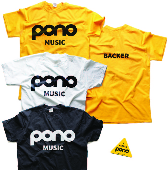 PonoMusic Founders Club: Kickstarter-exclusive T-Shirt & Sticker. T-shirts come in yellow, white, or black.