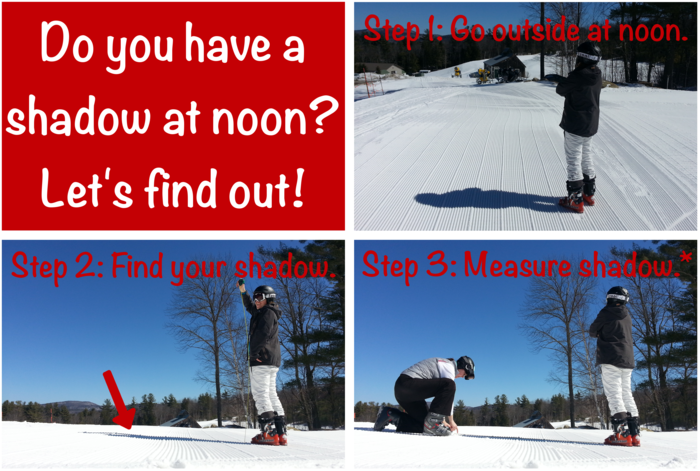 One of the weekly observations in this journal is the measurement of your shadow at noon.          *Note: you may find it easier to have a friend help you measure!