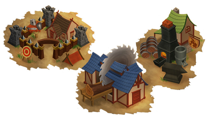Barracks, Lumber Mill, and Smithy - concept by Casey Graham