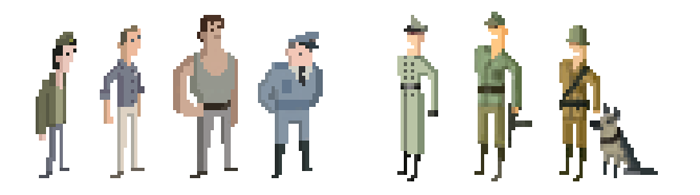Early pixel-style character concepts