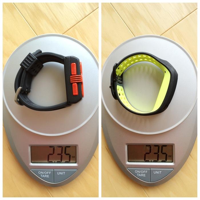 Hoop Tracker Weight vs. Nike Running Watch Weight
