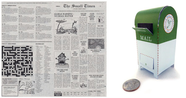 """The Small Times"" is a fictional newspaper edition in miniature. There's even a crossword puzzle that works! The tiny mailbox is easy and quick to make."