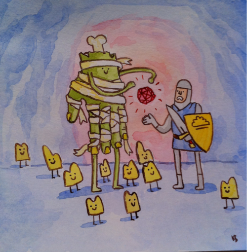 """The Knight of Clouds Gets An Unwelcome Power Up  Watercolor on paper 5""""x5"""""""