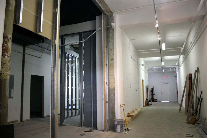Entrance, cafe/gallery area, under construction
