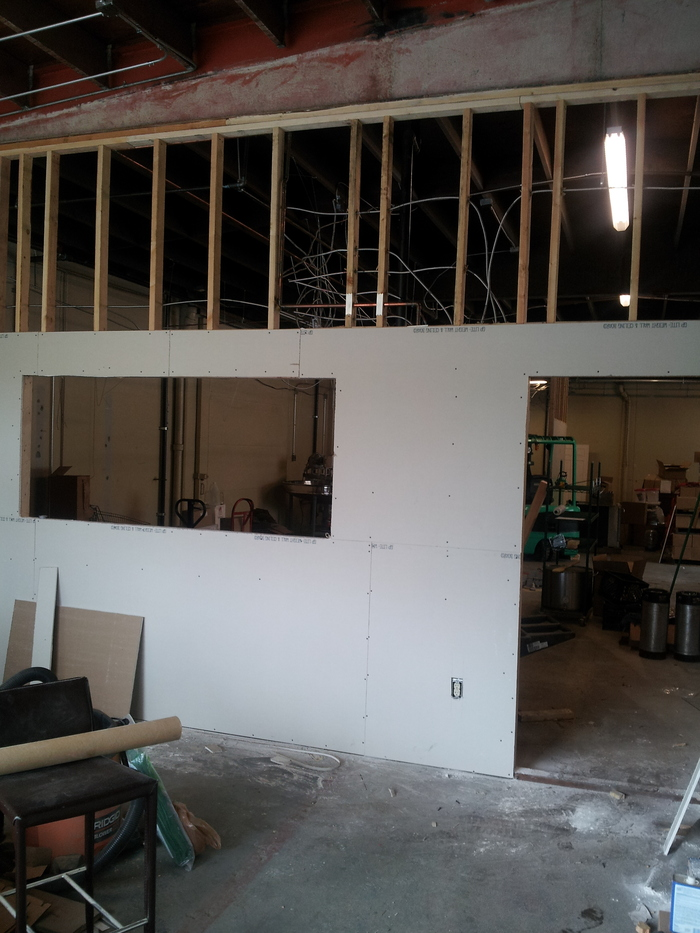 Drywall in the Retail room.