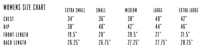 Reflect Vest WM Size Chart