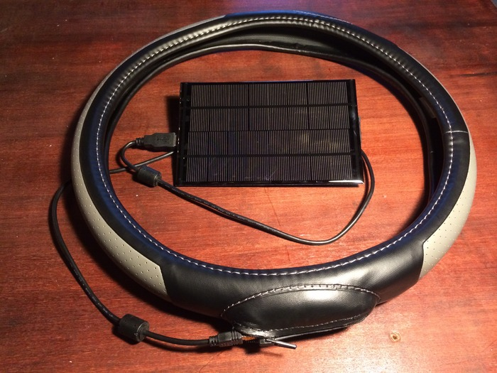 The solar charger comes with a USB-to-MiniUSB cable