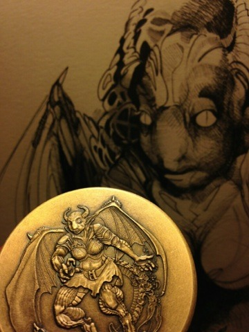 Half-Dragon with original concept art