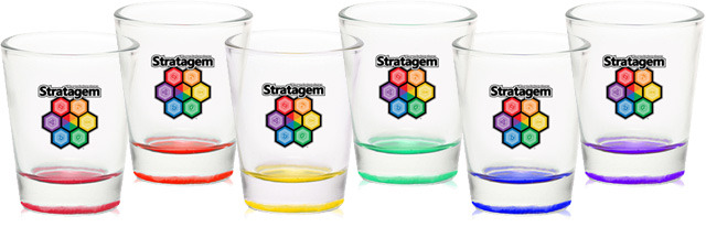 "These beautiful set of 1.75 oz shot glasses are 2"" wide by 2.25"" tall"