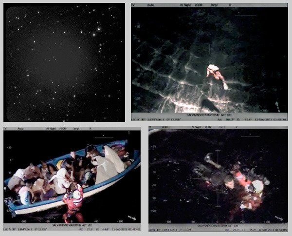 Ophihucas constellation, mirrored from Canary Island Observatory. Lifeguards, immigrants and the sea.