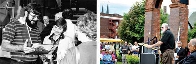 David's dad with his first book, Old Reliable, in 1982 and speaking at the centennial anniversary of the great strike in 2013 (photos courtesy MTU Archives and Kurt Hauglie, Daily Mining Gazette).