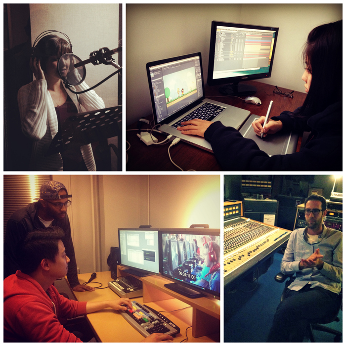 Clockwise, from upper left: myself recording voiceover this past weekend, graphics artist Naoko Saito working on our main character, soundtrack composer Andrew Lappin in his studio, and editors Ephraim Kirkwood and Ian Park hard at work.