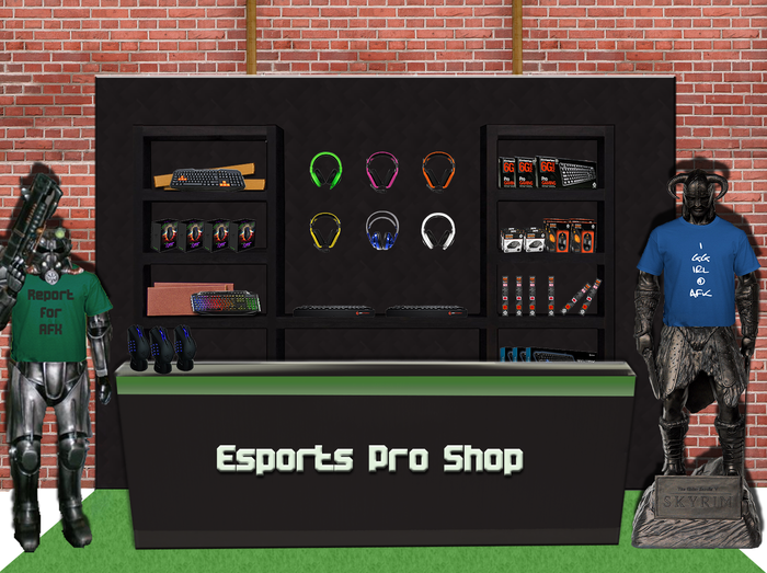 The Esports Pro Shop at AFK has specialty gaming gear and esports merchandise normally found only online