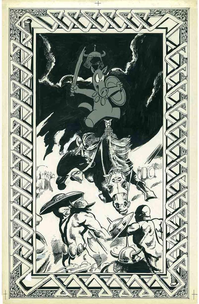 1. PARODY OF FRANK FRAZETTA'S CONAN BERSERKER PAPERBACK COVER