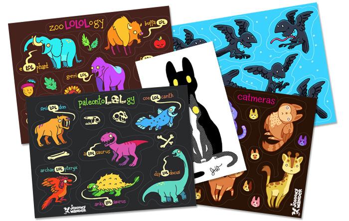 ZooLOLogy, Maw, PaleontoLOLgy, Nesting Cats, and Catmera stickers