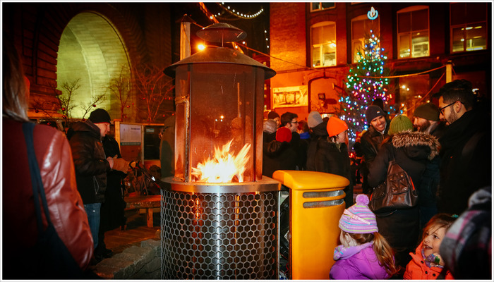 Powering the local holiday lights at the 1000 W BioLite FirePit, 2013
