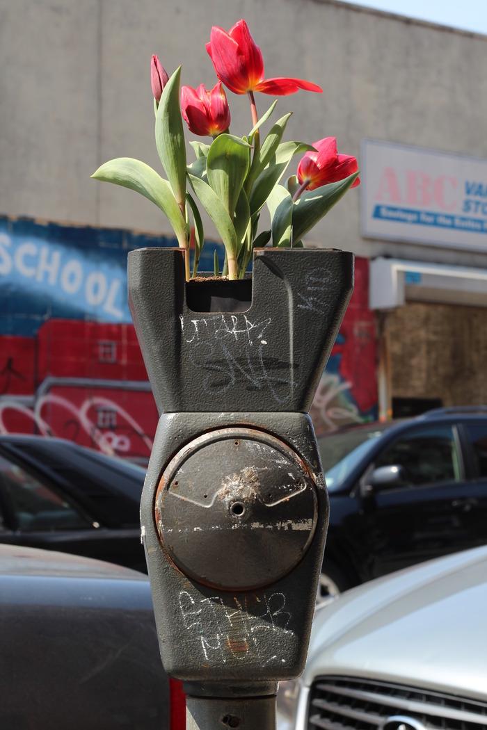 Re-purposing meters into urban street vases.