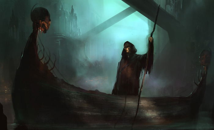 Charon, the boatman, beckons you to help spread the word about Shadowgate!