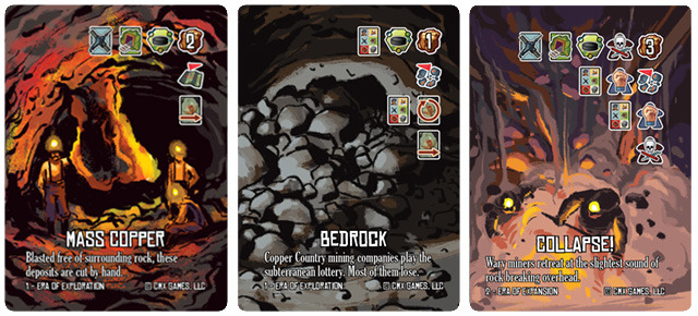 Produce copper, bring down rock, or mitigate disaster from the production card revealed each shift! Each row of icons on a production card presents an outcome the player may choose.