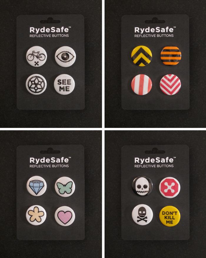 "RydeSafe Reflective Buttons: 4 Kits of Four 1.25"" Diameter Buttons"