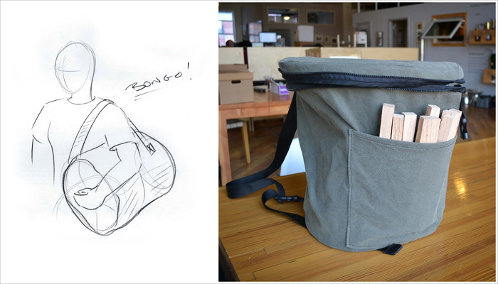 initial concept sketch and prototype of carrying case