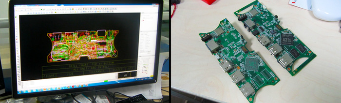 PCB design schematics and first boards
