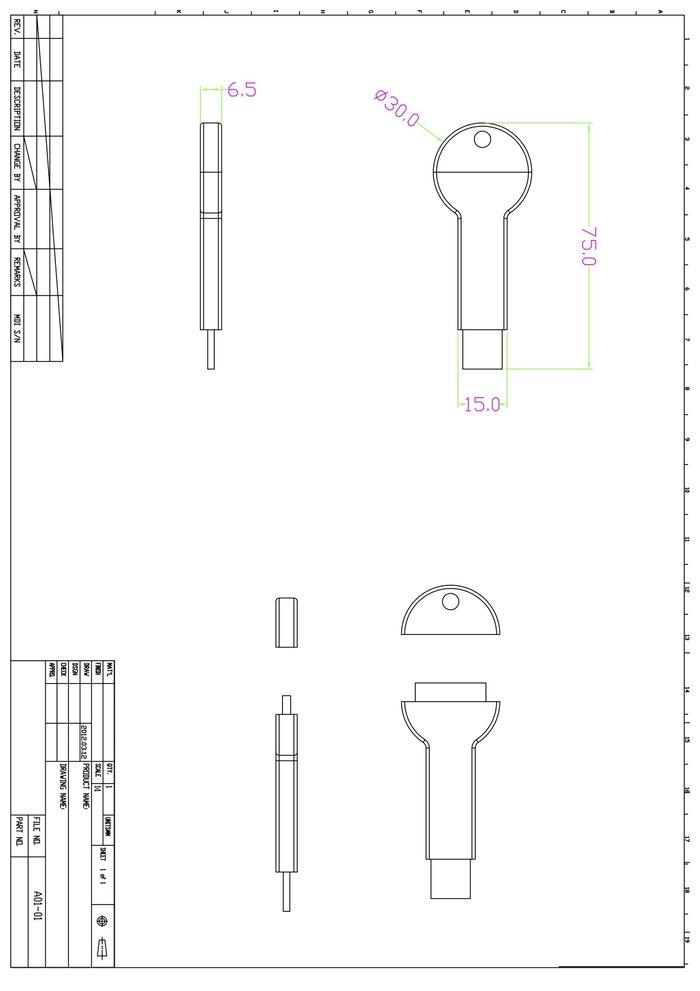 original bKey prototype CAD drawing