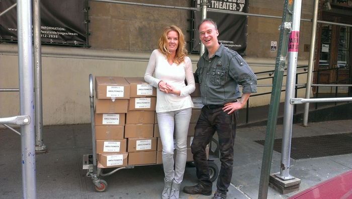 Thomas Estler and Sandra Salander with 1900 comic books, as they arrive at West 64th Street and Central Park West in NYC.