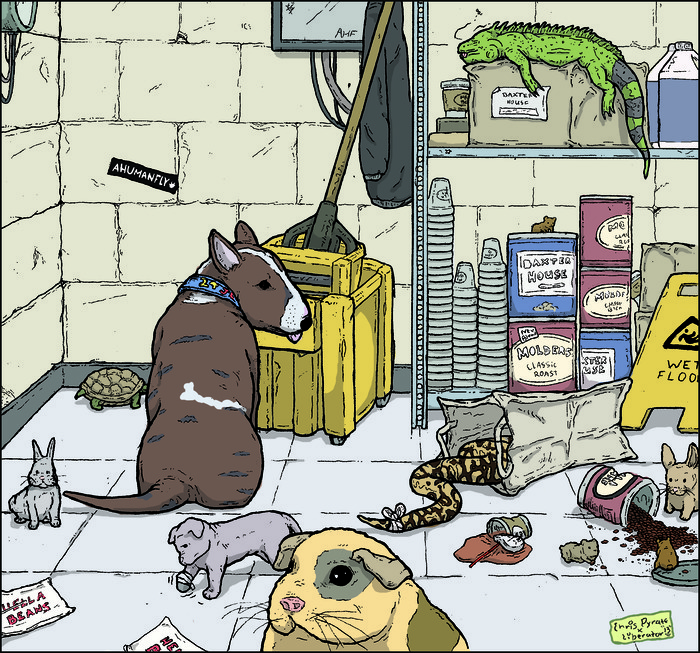 Example of pets drawn by CHris Pyrate (from the Liberator Trade Paperback)