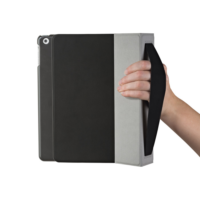 iPad slides out, while still in protective frame, for easy photography