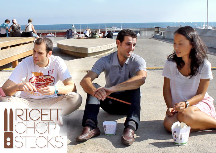 Aleix (left), Emili (middle), and Alice (right) enjoying eating with Solit RiceIt chopsticks.