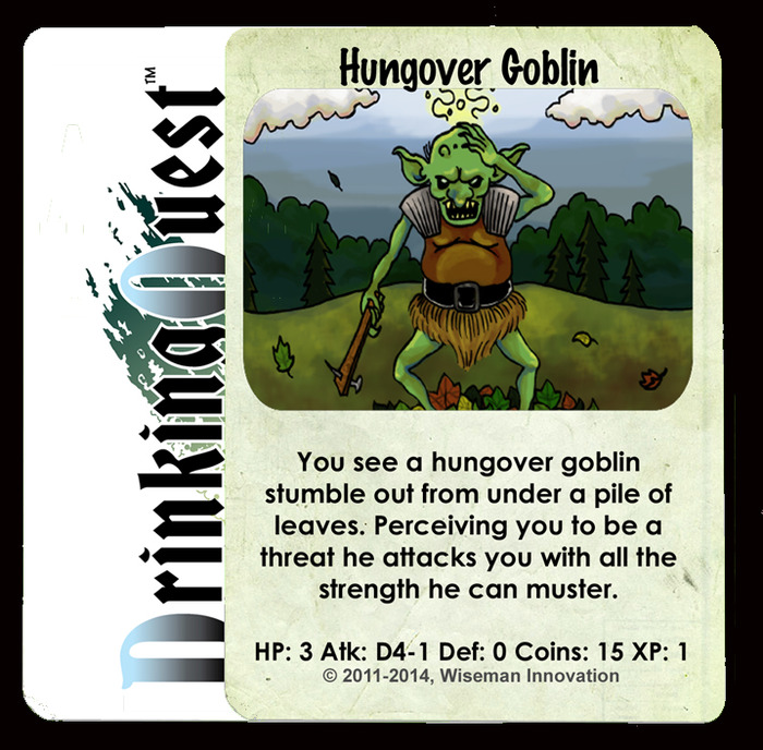 A card showing a pretty simple mash-up Drinking and RPGs