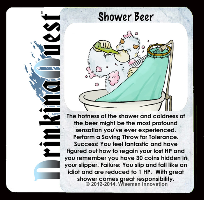 Possibly the first ever depiction of a yeti drinking a beer in the shower