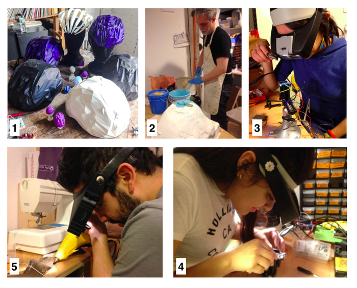 2014 PROGRESS: 1) A family of prototypes. 2) Ilias pours rubber into the mold. 3) Arlene troubleshoots an EEG circuit. 4) Vanessa troubleshoots a battery charger. 5) Josue makes a soft sensor.