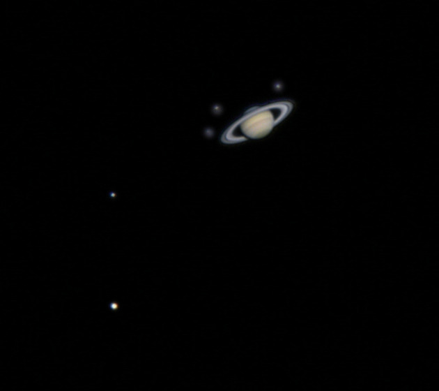 "$2,000 Backer Reward: Night with the Mt. Wilson Observatory 60"" Telescope. This is Saturn and 5 of its moons through the 60"" at Mt. Wilson by Major Tom"