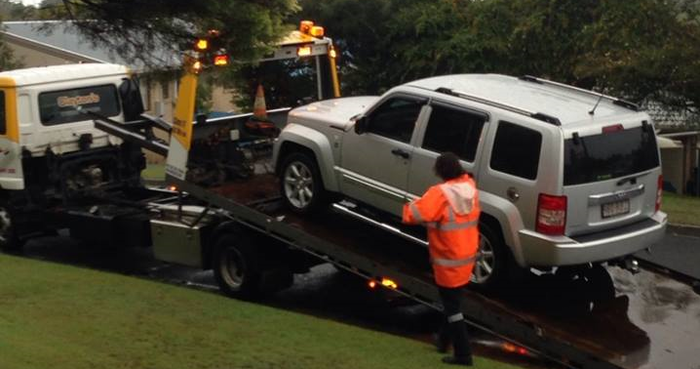 Our Jeep being towed again in March 2014