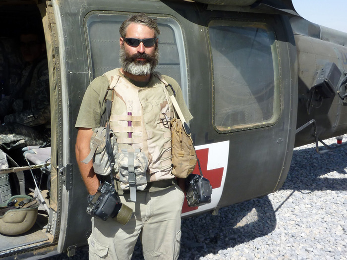 Louie on the frontlines in Kandahar after over 150 medevac missions with the 101st Airborne in 2010.