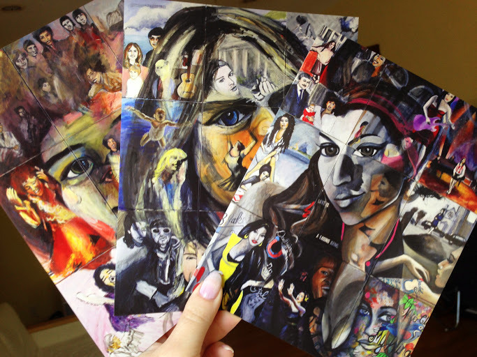 """Bundle of 3 Semi Gloss Postcards, 6 x 8"""".  All completed """"27 Club"""" paintings available"""