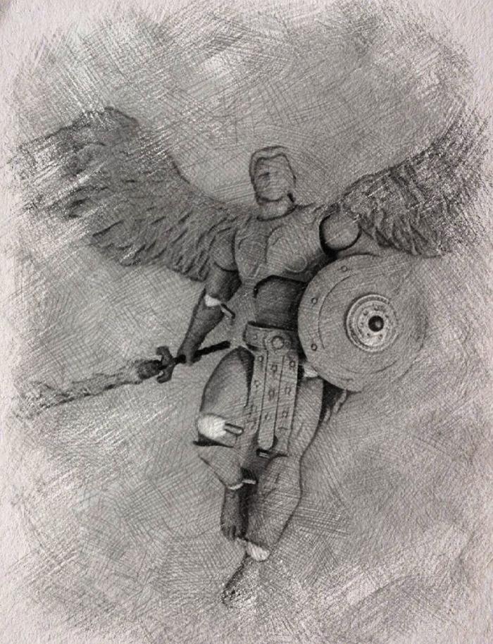 7 inch Archangel Michael action figure, concept sketch Rocco Tartamella