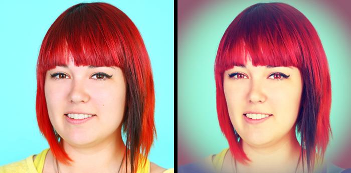 Hazel Eyes + Smooth Skin + Thinner Face + Vignette + Color Effect