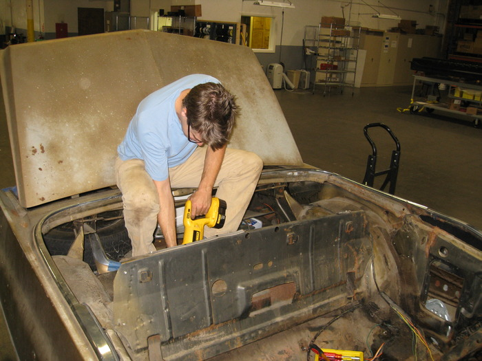 Remove superfluous interior, underhood and trunk components by any means necessary.