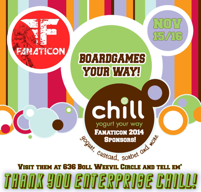 Thank you for sponsoring our Board Game Area Chill of Enterprise!!